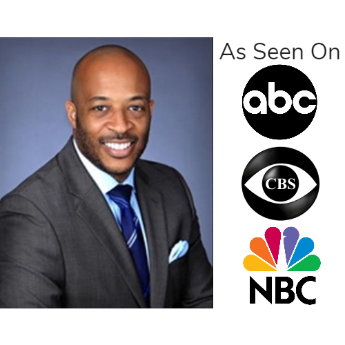 Kevin Sayles professional shot in grey suit and light blue shirt w/navy blue tie as seen on abc, cbs, and nbc logos